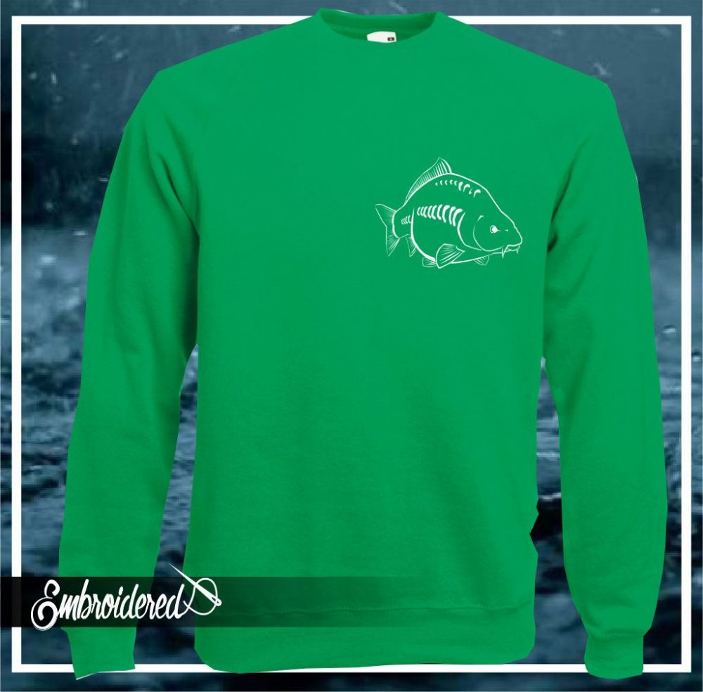 CLRN026 EMBROIDERED SWEATER KELLY GREEN